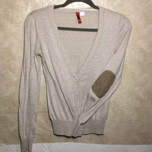 Beige Cardigan with elbow patches